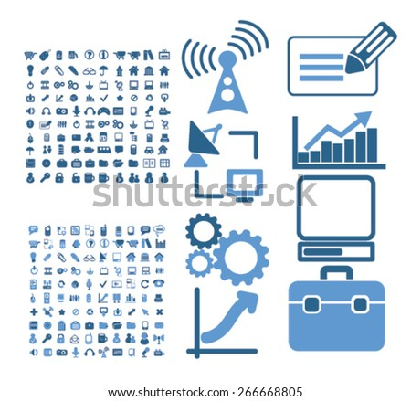 technology, business, information isolated icons, signs, illustrations concept website internet design set, vector - stock vector