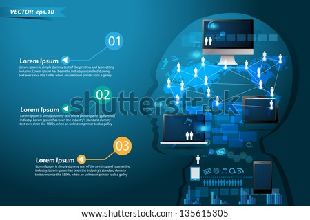 Technology business network process diagram concept idea make in man think, Vector illustration Modern template Design - stock vector