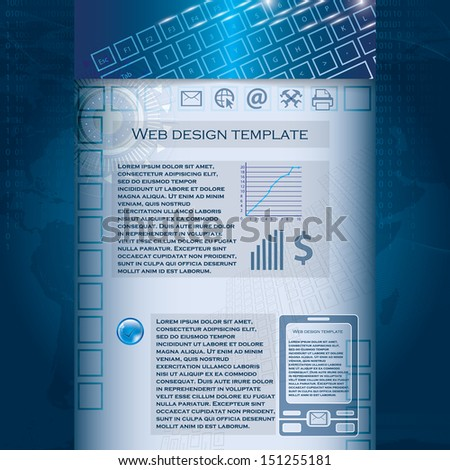 Technology business template blue background - stock vector