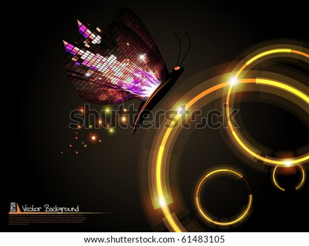 Technology circles with mosaic butterfly background. Vector illustration. - stock vector