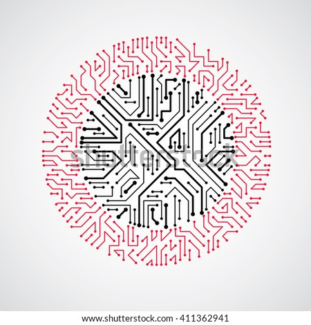 Technology communication cybernetic element. Vector abstract illustration of circuit board in the shape of circle. - stock vector