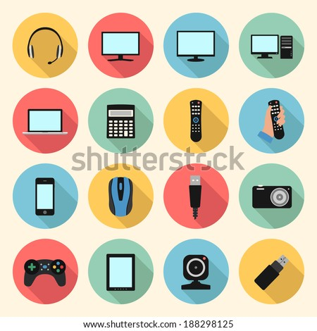 technology, computer, electronic device, tv and media web colorful flat design icons set. template elements for web and mobile applications - stock vector