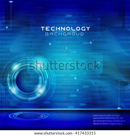 Technology concept abstract futuristic blue lights background.