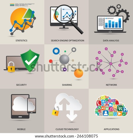 Technology concept icons. - stock vector