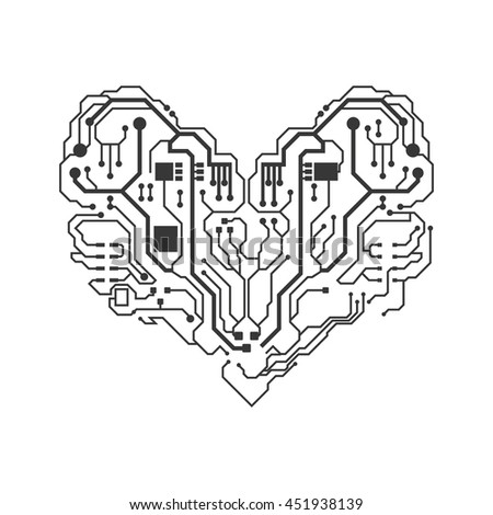 Technology concept represented by circuit board heart icon. Isolated and flat illustration.
