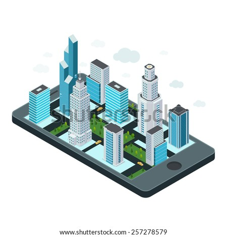 Technology concept with mobile device and map of the city. - stock vector