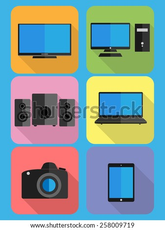 Technology, digital, power, electronics, device, : Tv, computer, subwoofer, satellites, notebook, camera, tablet. Icon,symbol,blank,isolated,background,collection,set. Design of vector illustrations. - stock vector
