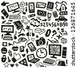 technology doodles - stock photo