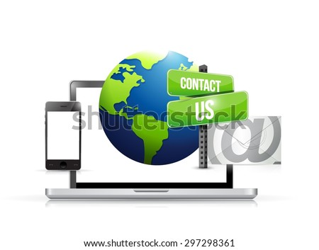 technology electronics contact us globe mail illustration design graphic - stock vector