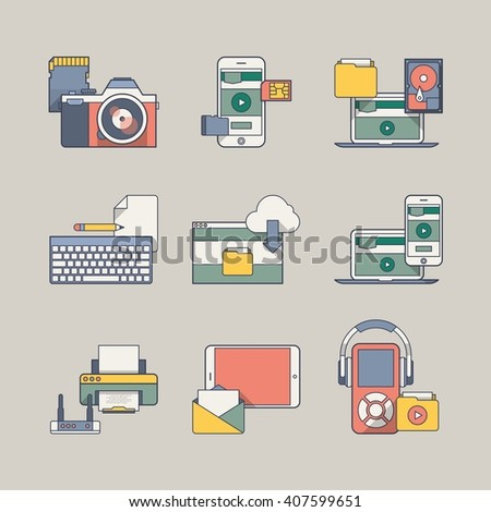 technology elements, illustrated icons - stock vector