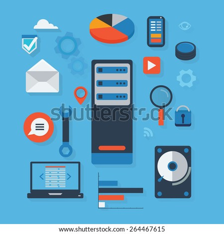 Technology flat icons with stylish shadows effect vector illustration. Server computing concept essentials. - stock vector
