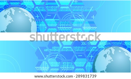 Technology global connection theme vector horizontal web banner design. - stock vector
