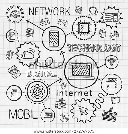 Technology hand draw integrated icons set. Vector sketch infographic illustration. Line connected doodle hatch pictogram on paper: computer, digital, network, business, internet, media, mobile concept - stock vector
