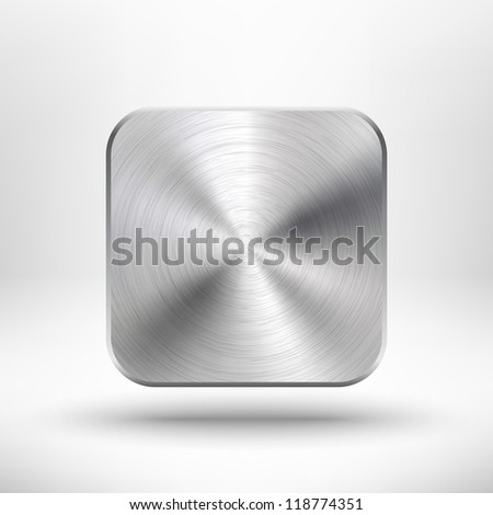 Technology icon (button) with metal texture (stainless steel, chrome, silver), realistic shadow and light background for internet sites, web user interfaces (ui) and applications (app). Vector design. - stock vector