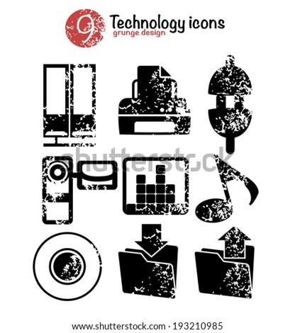 Technology icon set,black version,grunge vector - stock vector