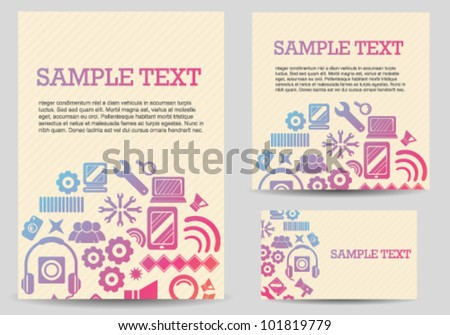 Technology Icons Card Set - stock vector