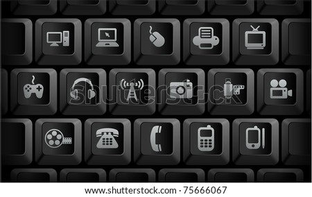 Technology Icons on Black Computer Keyboard Buttons Original Illustration