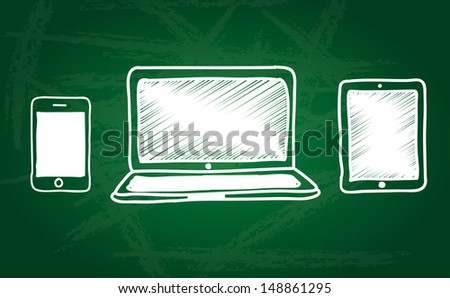 technology icons over green board background vector illustration  - stock vector