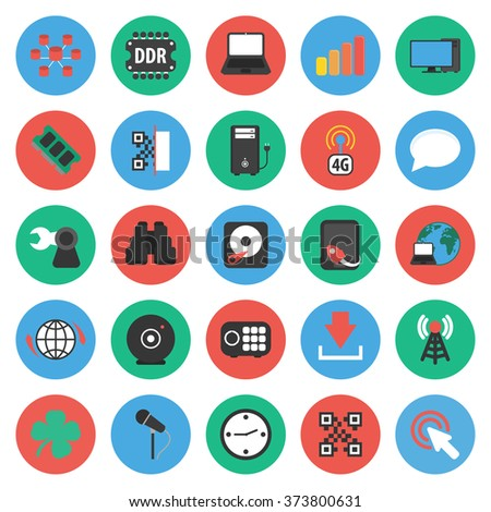 Technology icons set. - stock vector