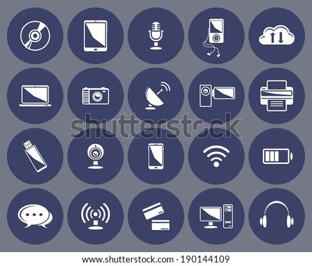 Technology icons set:computer, tablet, phone, laptop, clouds, microphone, wireless, headphones, player, camera, printer, internet credit card ... - stock vector