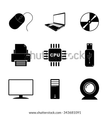 Technology Icons Set. Flat design style eps 10