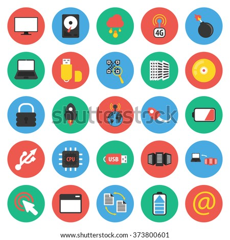 Technology icons set. Technology icons flat. Technology icons. Technology set app. Technology set vector. Technology set eps. Technology icons UI. Technology icons sign. Technology icons art.Pc icons. - stock vector