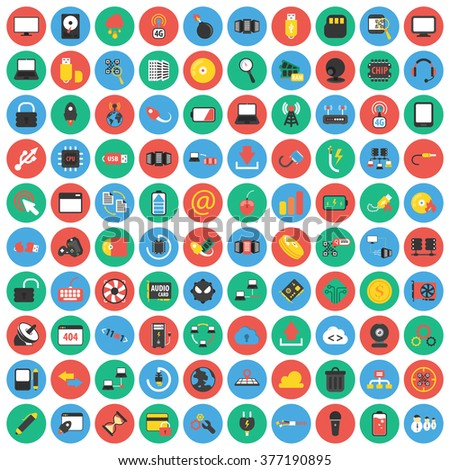 Technology icons set. Technology icons flat. Technology icons. Technology set app. Technology set vector. Technology set eps. Technology icons UI. Technology icons sign. Technology icons art. Pc icons - stock vector