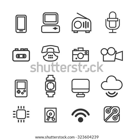 Technology icons set,Vector
