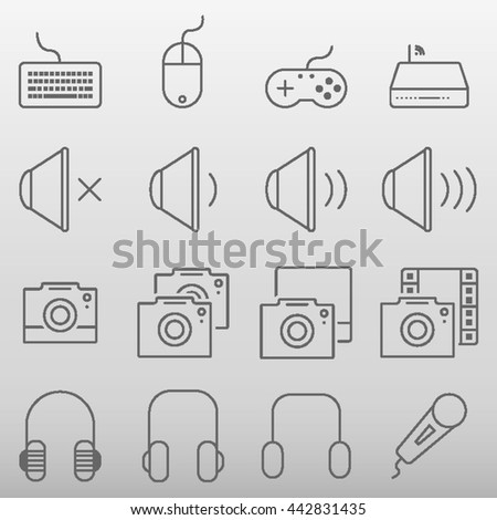 Technology Icons Set Vector Illustration
