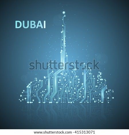 Technology image of Dubai. The concept vector illustration eps10 - stock vector