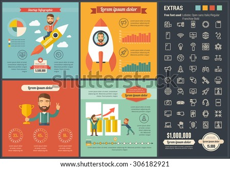Technology infographic template and elements. The template includes illustrations of hipster men and huge awesome set of thin line icons. Modern minimalistic flat vector design. - stock vector
