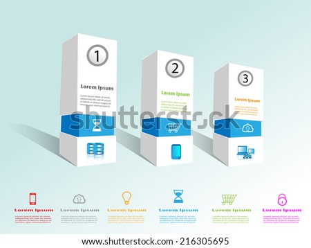 Technology Infographics with box design, This provides the collection of technology icons which can be reused with the boxes and relevant technology/business content write up for web. - stock vector