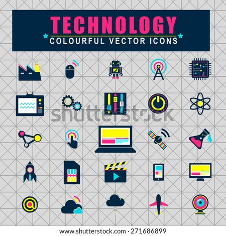 Technology Innovation Electronics Motivation Icons Concept - stock vector