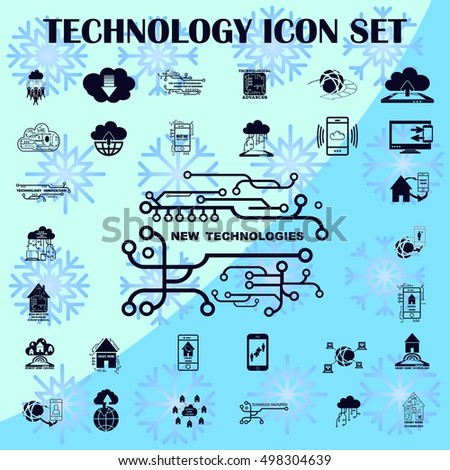 Technology innovation icons set. Cloud technology icons set. Circuit board, microchip icons set, vector illustration.