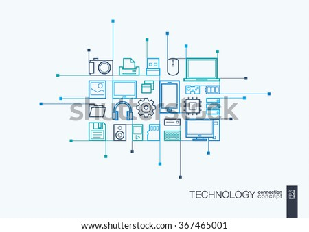 Technology integrated thin line symbols. Circuit board vector motion concept, with connected flat design icons. Illustration for digital, internet, network, social media, cloud, global concepts.