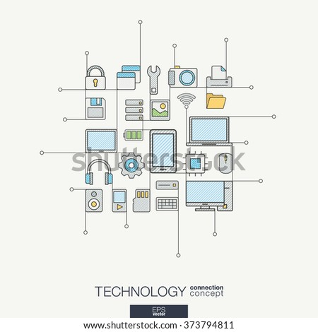 Technology integrated thin line symbols. Modern color style vector concept, with connected flat design icons. Illustration for digital, internet, network, social media, cloud, global concepts.