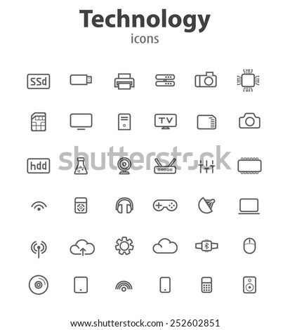 Technology line icons, vector illustrations - stock vector