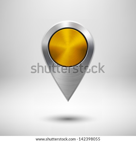 Technology map pointer (button, badge) template with gold metal texture (chrome, silver, steel), realistic shadow and light background for user interfaces (UI), applications (apps) and presentations. - stock vector