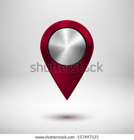Technology map pointer (button, badge) template with maroon (dark red) metal texture (chrome, silver, steel), realistic shadow and light background for user interfaces (UI) and applications (apps). - stock vector