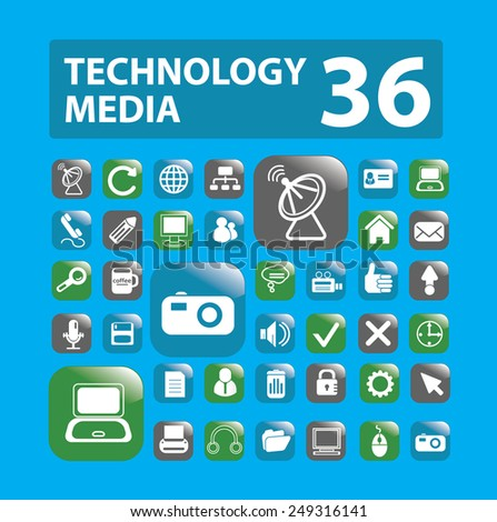 technology, media, computer, cloud, computing, network, notebook icons, signs, illustrations set, vector - stock vector