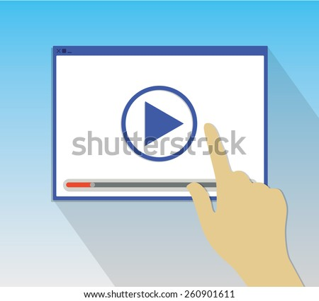 Technology media pop up window computer hand  - stock vector