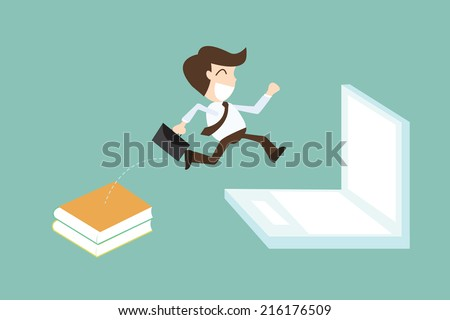 Technology migration with businessman jumping book to laptop - stock vector
