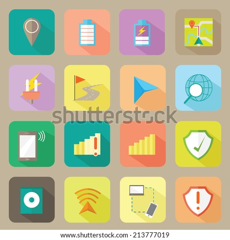 Technology Modern Flat Icons Set - stock vector