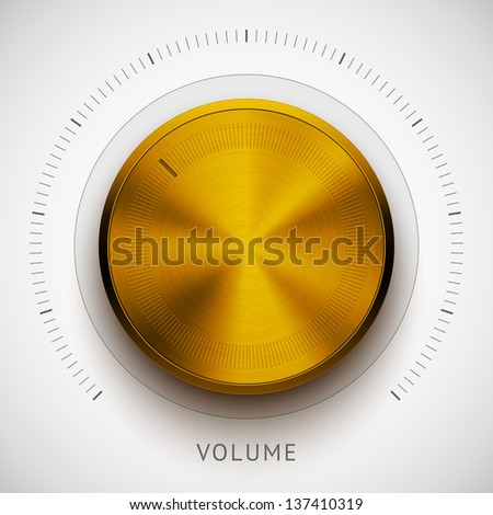 Technology music button (volume knob) with metal texture (steel, chrome, silver, bronze), realistic shadow and light background for user interfaces (UI), applications (apps) and business presentations - stock vector