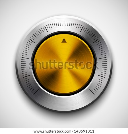 Technology music button (volume knob) with metal texture (steel, chrome, silver, bronze), realistic shadow and light background for user interfaces (UI), applications (apps) and business presentations