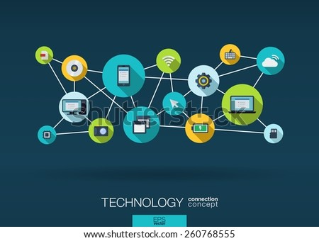 Technology network. Growth background with lines, circles, integrate flat icons. Connected symbols for digital, connect, communicate, social media and global concepts. Vector interactive illustration - stock vector