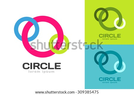 Technology orbit web rings logo. Vector circle ring logo design. Abstract flow logo template. Round ring shape and infinity loop symbol, technology icon, thin line logo. Company logo. Together logo. - stock vector