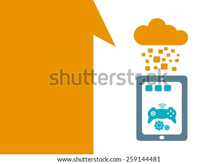 Technology placeholder with themes about handheld device features Set 1. Gaming Apps Theme. Editable EPS10 Vector  and jpg Illustration ideal as advertising and promotional template.  - stock vector