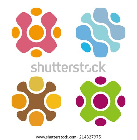 Technology Science Molecule DNA style vector design logo template.Chip icon. Electronics circuit concept. You can use in biotechnology, energy, water and electricity equipment, computer concept icons. - stock vector