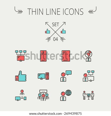 Technology thin line icon set for web and mobile. Set includes - Mobile phone, gadget, computer, CPU, global. Modern minimalistic flat design. Vector icon with dark grey outline and offset colour on - stock vector